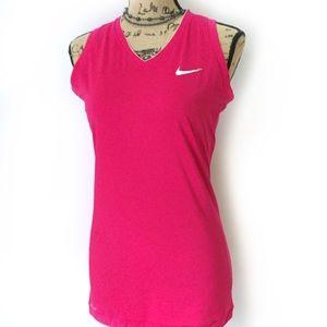 Nike Pro Combat Fuchsia V Neck Workout Top